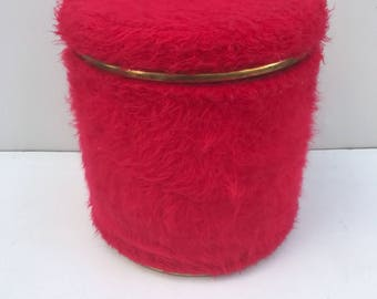Old Style LIMOUSS with box Vintage 70s red fur pouf