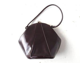 Vintage 40s Handbag | Hexagonal Leather Bag | 1940s Purse