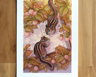 Chipmunks Book Discovery -  Fine Art Print by Nicole Gustafsson