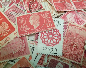 40 Red Postage Stamps, Pink Stamps, Used Postage Stamps, Vintage Stamps, Craft Stamps
