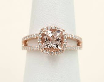 Morganite Engagement Ring.0.42ct High Quality Diamond Ring.Rose Gold Engagement Ring.7mm AAA Cushion Shaped Morganite,F G-VS Quality Diamond