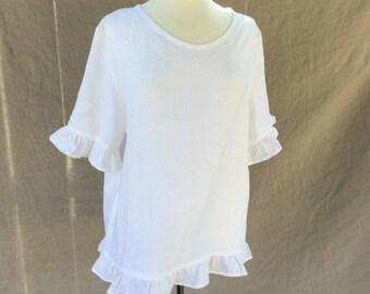 White Linen Top for women, linen blouse, plus size clothing