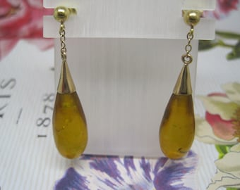 Antique Victorian amber and gold drop earrings