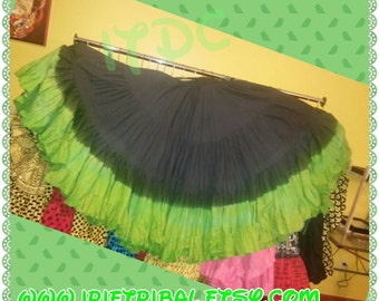 Black and Apple Green Hand Dyed 25yd Skirt