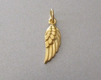 Mini Gold Angel Wing Charm