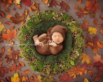 Digital Backdrop Newborn Photography Autumnal Basket Prop