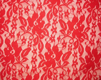 Red 4 way stretch lace Fabric