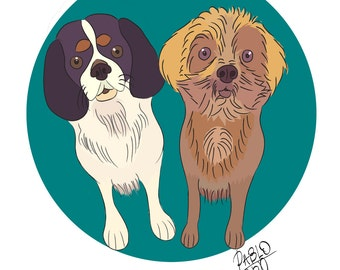 two pet portrait custom, 2 dog portrait custom, gift under 15, personalized pet, modern art, pet owner gift, pet memorial, digital file only