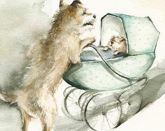 "dog art, dog print, dog watercolor, dog painting- ""Stroll""- Baby, mother, dog art, nursery, children"