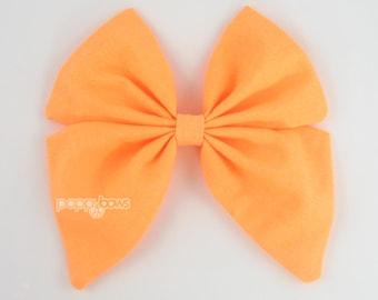 Orange Hair Bow, girls hair bow, Halloween hair bow, sailor hair bow, light orange neon big hair bow, large hair bow, cotton bs5-lto