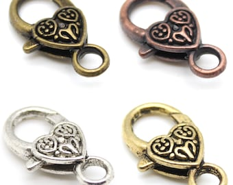 2 Heart Lobster Clasps - Nickel Free Tibetan Silver Alloy - choose silver, gold, bronze, or copper