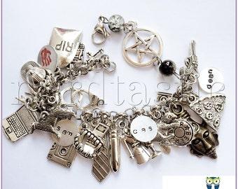 Supernatural Bracelet, Supernatural Jewelry, Loaded Charm Bracelet, Dean Winchester Amulet, Sam Winchester, Castiel SPN, Geekery, Fandom