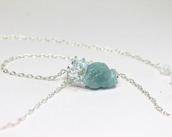 Raw Crystal Aquamarine Pendant, Blue Aquamarine Necklace, Healing Stone, March Birthstone, Blue Gemstone Necklace in Sterling Silver