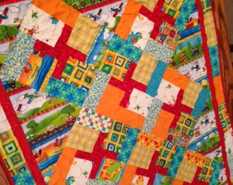 Handmade baby quilt, homemade baby quilt, bright baby quilt