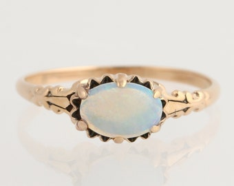 Art Deco Opal Solitaire Ring - 10k Rose Gold October Women's 8 Genuine .56ctw L2137 R
