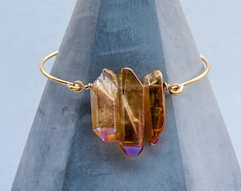 Raw Crystal Quartz Peach Crystal Bangle Bracelet