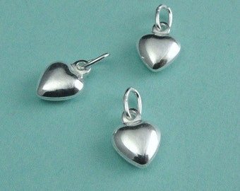 10 Sterling Silver Puffed Heart Charms Drops 6.5x9mm