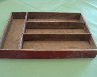 Vintage Divided Wood Silverware--Jewel Drawer or Box