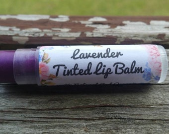 Lavender tinted lip balm lip stain cheek stain 100% Natural organic moisturizer chapstick lip butter coconut oil bee wax lilac # 62