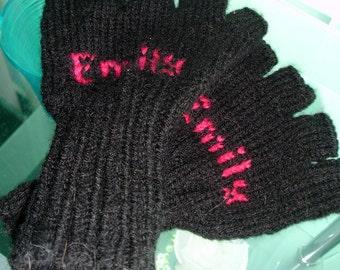 Personalized custom knitted fingerless gloves