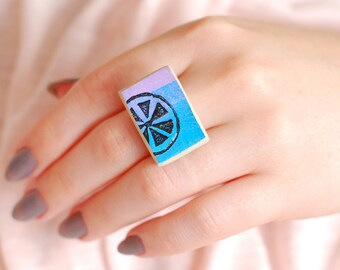 Ceramic cabochon ring, pastel jewelry, art, unique, Women's ring , Adjustable ring,  Clay jewelry, Funky jewelry, Ceramic jewelry