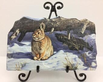 Winter Rabbit Handmade Flagstone