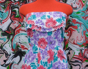 1980's floral ruffled romper
