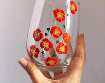 Orange Poppies Hand Painted Wine Glass