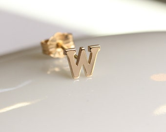 SINGLE Earring,Alphabet initial earring ,14k solid gold initial studs,personalized alphabet,letter initial Stud, monogram, Name Earring