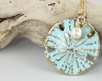 Blue Sand Dollar Necklace with Gold Filled Chain Light Turquoise Sand Dollar Jewelry Hand Painted Brass Unique Gift for Women Beach Weddings