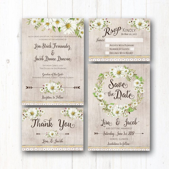Rustic Daisy Wedding Invitations: Daisy Wedding Invitation Suite Rustic Wedding Daisies Boho