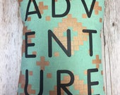 ADVENTURE Throw Pillow: Mint with gold - Alexia Abegg M...