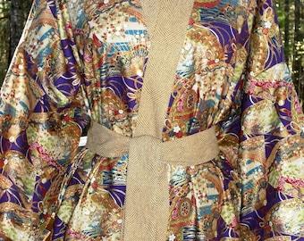 Haori Happi Coat Hip Length Kimono with pockets GOLDEN FANS Christmas Birthday Mothers Day Fathers Day