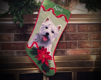 Westie Personalized Needlepoint Christmas Stocking, Dog Stocking, Westie Christmas stocking, dog Christmas stocking, West Highland Terrier