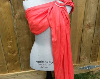 SALE, Coral Red Pure Linen Ring Sling, Long Tail, Gathered Shoulder,  Aluminum Rings