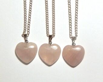 Rose Quartz Heart Necklace, Rose Quartz Crystal Necklace, Rose Quartz Pendant, Crystal Heart Necklace, Heart Necklace, Rose Quartz Necklace
