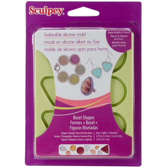 Bakeable silicone Bezel mold shapes  by sculpey make your own bezels molds