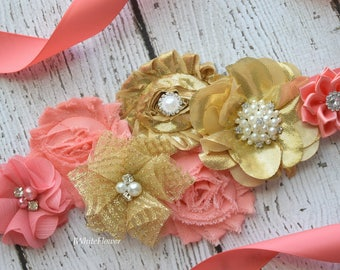 Gold coral Sash , flower Belt, maternity sash, wedding sash, flower girl sash, maternity sash belt