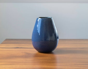 Ceramic Flower Vase  [ Egg Vase in Pacific, Ceramic Vase, Handmade Vase, Blue Vase, Modern Vase ]