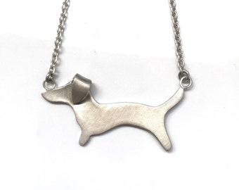 Dachshund Necklace with Flipped Ear - Sterling Silver