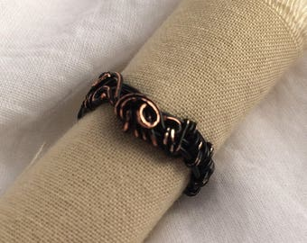 Black Coated Distresed Copper Wire Wrapped Ring