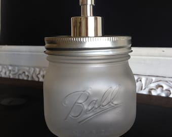 Frost Square Ball Mason Jar Soap Dispenser