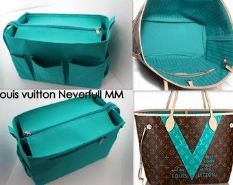 Taller Purse organiser 12Wx8Hx6D for Louis Vuitton Neverfull MM with Zipper closure- Bag organizer insert in Turquoise match LV Monogram