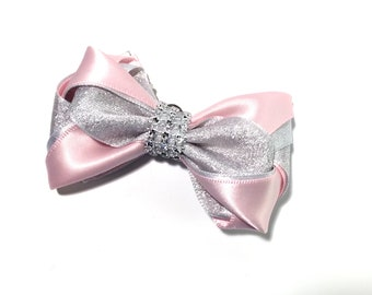 hair bow with elastic tie or alligator clip, approximately 4 inches, pink and silver,blue and silver