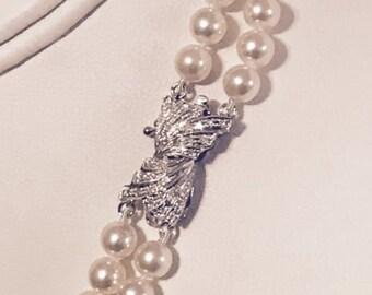 Certified 7,800 Estate Akoya Pearl 6.5-6 mm 17.5-18.5 In 14Kt Diamond Necklace