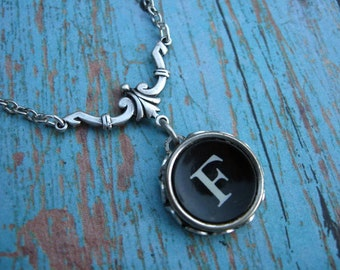 Typewriter Key Necklace - Simple Elegance - Letter F