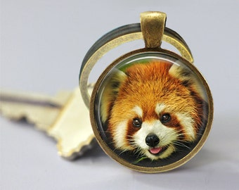 Red Panda Glass Pendant , Photo Glass Necklace, Glass Keychain