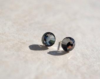 Swarovski Crystal Studs -- Charcoal Grey Crystals, Silver
