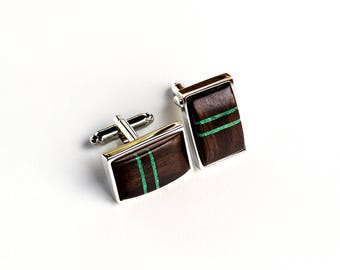 WOODEN CUFFLINKS rectangular EBONY with malachite inlay Wedding Cufflinks | Groom Cufflinks | fathers day| groomsmen cufflinks| gift for him