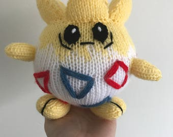 Togepi knitting pattern pokemon pattern knit knitted plushie toy amigurumi pdf pattern